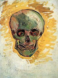 Skull (Front) (Artist: Vincent Van Gogh) c. 1887 - Masterpiece Classic (Art Print Available) Vincent Van Gogh, Van Gogh Museum, Theo Van Gogh, Arte Van Gogh, Oil Canvas, Van Gogh Paintings, Post Impressionism, Vanitas, Mellow Yellow