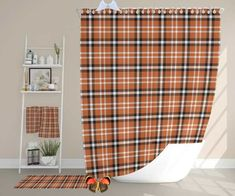 Orange Plaid Primitive Shower Curtains Romantic Shower | Etsy <br> Burnt Orange Plaid Primitive Shower Curtains, Romantic Shower Curtains, Farmhouse Shower Curtain, Bath Mat, Bath Towels, Hand Towels Set| Rustic Boho Bathroom Decor. The Shower Curtain Set is Perfect as a Personalized Gift for Mom, and Dad, Anniversary Gift, Host Gift, Housewarming Gift, Birthday,