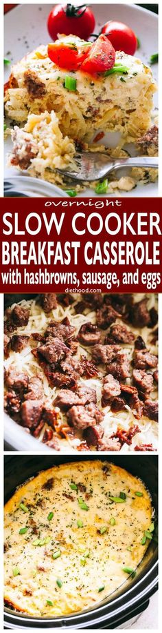 Overnight Slow Cooker Breakfast Casserole: set the slow cooker overnight and wake up to this amazing, via @diethood