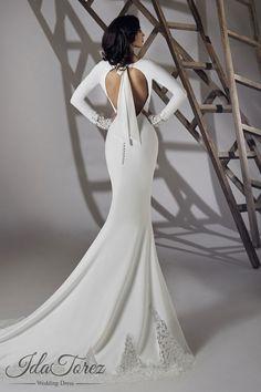 Modest Trumpet-Mermaid Bateau Natural Court Train Stretch Crepe Ivory Long Sleeve Open Back Wedding Dress 01064