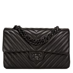 Chanel So Black Chevron Large Classic Double Flap Bag  ... ($5,900) ❤ liked on Polyvore featuring bags, handbags, shoulder bags, chanel, chanel purses, shoulder handbags, black purse and chevron purse