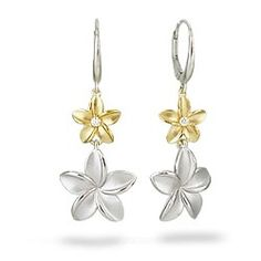Yellow Gold and Sterling Silver Double Plumeria Earrings with Diamonds