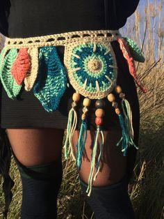 SALE 20% OFF Nature child crochet pocket belt / utility belt /