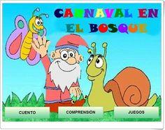 """""""Carnaval en el bosque"""" es una aplicación, de Ana Martínez Rey, en la que, aprovechando el tema del carnaval, plantea actividades de comprensión lectora y juegos sobre el cuento."""