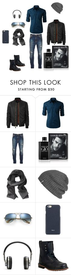 """men"" by imsirovic-813 ❤ liked on Polyvore featuring LE3NO, Nudie Jeans Co., Giorgio Armani, Banana Republic, Outdoor Research, Ray-Ban, Valextra, Master & Dynamic, Dr. Martens and men's fashion"