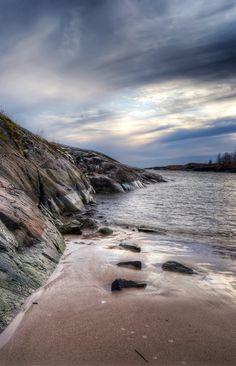 HDR photo of sand beach in Suomenlinna island/sea fortress in Helsinki, Finland.