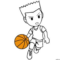 Cartoon basketball Player step 2: use the sketch lines to create a good and clean line drawing.