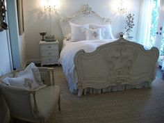 Gorgeous Creamy Old World Carvings on French Bed w/ French Setee