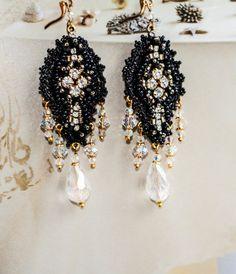 Black Crystal // Vintage Inspired Hand Embroidered Chandelier Earrings OOAK