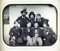 An informal group portrait of seven European men - the one at the center of the back row has his tongue out. Victorian Era Fashion, Victorian Photos, Antique Photos, Vintage Photographs, Vintage Photos, Old Photography, Portrait Photography, Old Pictures, Old Photos