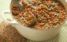 Lentil Chili--Whole Foods Market. This simple vegetarian chili recipe uses lentils instead of beans. Brown lentils work best as they will hold their shape even when tender after cooking. Serve over brown rice or with whole-grain hearth bread. Lentil Chili Recipe, Chili Recipes, Soup Recipes, Whole Food Recipes, Cooking Recipes, Lentil Soup, Lentil Recipes, Lentil Dishes, Cooking Kale