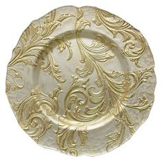Set of 2 Vanessa Round Gold Glass Charger Plates New | eBay