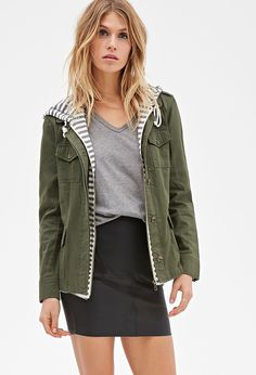 Love 21 Striped Hood Utility Jacket in Green (Olive/ivory) | Lyst