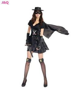 New and Real Black Female Halloween Zorro Role-playing Costumes Super Hero Games Disfraces Masquerade RPG Clothes H158619