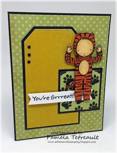 "airbornewife's stamping spot: Day 11 Copic Coloring ""YOU'RE GREAT!"" card using MFT stamps/dies Mft Stamps, Copic, Stamping, Coloring, Creatures, Pure Products, My Favorite Things, Paper, Day"