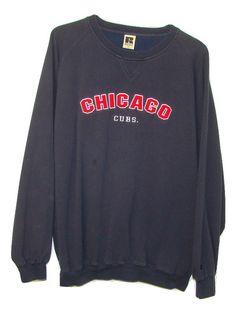 Russell Athletic Mens Chicago Cubs Embroidered Blue Long Sleeve Sweatshirt XL #RussellAthletic #SweatshirtCrew