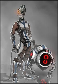Salarian engineer/mechanist dude by JHKris on DeviantArt Mass Effect Races, Mass Effect 1, Mass Effect Universe, Mass Effect Characters, Sci Fi Characters, Alien Character, Character Concept, Star Wars Species, Alien 2