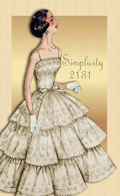 Vintage Pattern Simplicity 2131 1950s Prom Cocktail or Formal Dress with Triple Tiered Flounce Skirt - Wedding Dress Adaptability. $58.00, via Etsy.
