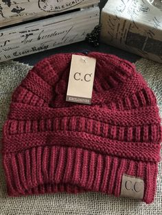 New Soft & Cozy CC Winter Cranberry Cable Knit Hat Beanie | Clothing, Shoes & Accessories, Women's Accessories, Hats | eBay!