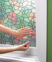 Self-Adhesive Window Privacy Film- This would be a great solution for my bathroom windows.