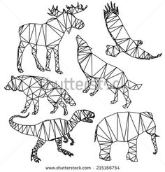 Polygonal animals wildlife, deer, eagle, elephant, wolf, dog, origami style.