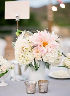 #Centerpiece | #MilkGlass | Read More: http://stylemepretty.com/2013/11/06/ojai-wedding-from-lacie-hansen-photography/