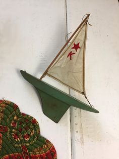 64958a87 Vintage Wooden Boat, Green Nautical Decor, Wood Boat with Sail, Sail Boats,  Wooden Ship, Gifts For Sailors, Sailing Decor, Office Decor