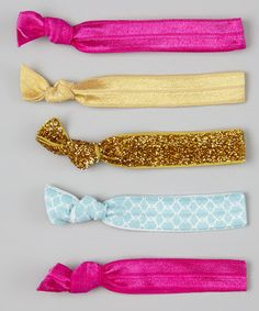 Take a look at this Pink & Gold Glitter Hair Tie Set by Hair Tie Candy on #zulily