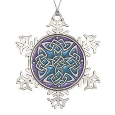 Blue Purple Celtic Knot Snowflake Ornament   #Celtic #Christmas #mandala   $24.95