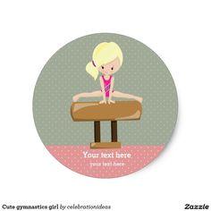 Cute gymnastics girl classic round sticker