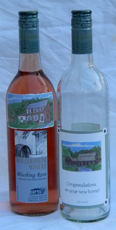 House Portrait Wine Bottle Label by abuzzcard on Etsy, $45.00