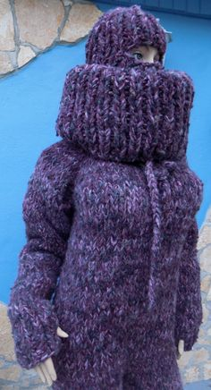Gros Pull Mohair, Thick Sweaters, Balaclava, Wool Yarn, Catsuit, Sweater Outfits, Hand Knitting, Overalls, High Neck Dress