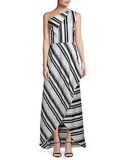 Kay Unger One-Shoulder Sleeveless Gown
