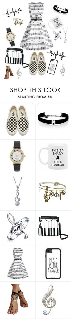"""Music Notes"" by sydneynoel17 ❤ liked on Polyvore featuring Vans, Kenneth Jay Lane, Kate Spade, Bling Jewelry, Sweet Romance and Casetify"