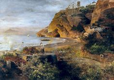 Oswald Achenbach - 1903 Vico Equense on the Coast of Sorrento with the Cathedral of the Annunciation
