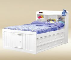 jay full size kids bookcase captain bed 4 under bed drawer