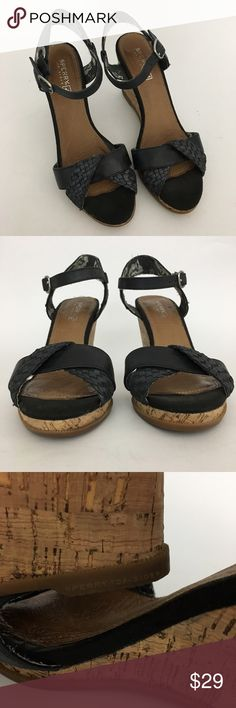 """Sperry Women's Braided Wedge Sandal, Leather, 6.5M Sperry braided leather wedge sandal with adjustable ankle strap. 3.5"""" heel  Soft cushioned sole Size 6.5M  The inside lining is made of fabric with some loose threads.   Great condition.  Please see pictures for details and ask any questions before buying to avoid return.  Will be shipped in a padded poly envelope.  Check out my store for more items! Sperry Shoes Wedges"""