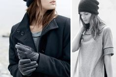 Garconne im Winter? O-Shape-Mantel, Sweat und gesteppte Lederhandschuhe!