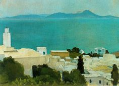 """The Minaret at Sidi Bou Said"", Albert Marquet, Art Gallery, Impressionism, Landscape Paintings, Painter, Fauvist, Painting, Painting Reproductions, Seascape, Fauvism"