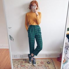 0058b105459 The nicest dark green checkered tartan vintage high waisted - Depop   Blondes 90s Fashion