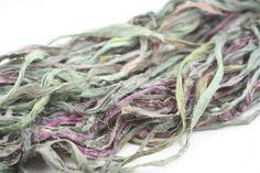 Reclaimed Sari Silk Ribbon: Thai Basil from DGY