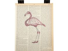 Hey there, long legs. A vintage dictionary or encyclopedia page has been given new life and is now a unique piece of art. Looks fantastic. Pink Flamingos, Long Legs, Art Pieces, Unique, Frame, A4, Illustration, Prints, How To Make
