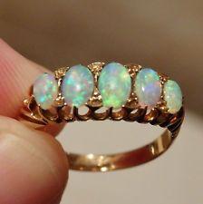 Antique Edwardian 18ct Gold Opal Five Stone Ring c1906; UK Ring Size 'N 1/2'