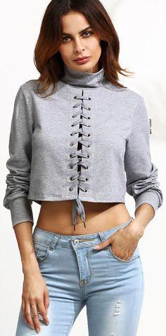 Grey Women Loose T-Shirt Autumn Fashion Cross Lace Up Long Sleeve Ladies Tops Short Fashion Details, Diy Fashion, Autumn Fashion, Fashion Outfits, Short Tops, Sweat Shirt, Grey Sweatshirt, Leggings Fashion, Casual Tops