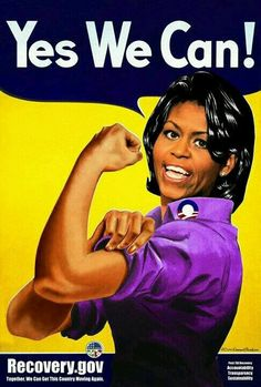 """gov,"""" First Lady Michelle Obama as Rosie the Riveter. Signed offset lithograph by artist O. Michelle Obama, Obama Art, Rosie The Riveter, Black Girls Rock, New Face, Black Is Beautiful, Powerful Women, Feminism, Historia"""