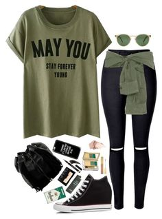 """- Black and Army Green -"" by style-and-chic-boutique ❤ liked on Polyvore featuring WithChic, Faith Connexion, Oliver Peoples, Converse, Iman, Estée Lauder, NARS Cosmetics, Yves Saint Laurent, Too Faced Cosmetics and Steve Madden"