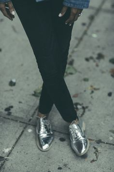 Metallic oxfords.