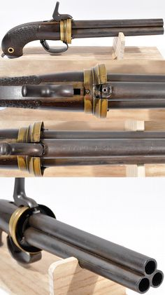 Rare Japanese three barreled percussion pistol, late Edo period to early Meiji period, barrel length: 18.5cm, total length: 31.5cm, barrel diameter: 1.2 cm.
