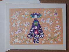 Kimono orange card, 6 ½ x 5 inch, with envelope
