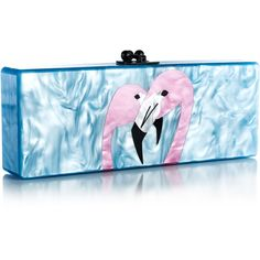 Edie Parker Powder Blue Pearlescent Flavia Two Flamingos ($1,495) ❤ liked on Polyvore featuring bags, handbags, clutches, blue purse, edie parker clutches, lucite handbag, edie parker handbags and blue clutches